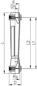 Габаритные размеры ротаметров SK-50...73 (поплавок без магнита)
