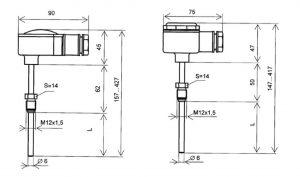 Конструктивные исполнения (рисунки) термометров сопротивления ТЭМ-110
