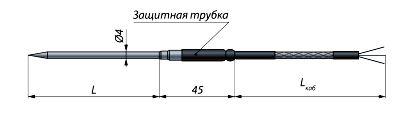 Конструктивное исполнение (рисунок) термопреобразователя ТС-0259-1