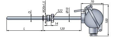 Конструктивное исполнение (рисунок) термопреобразователя ТС-1088/1