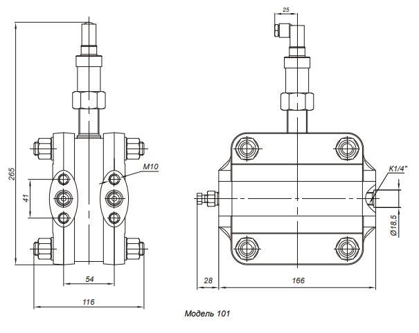 Габаритные размеры датчика давления Корунд-ДД-001М-101