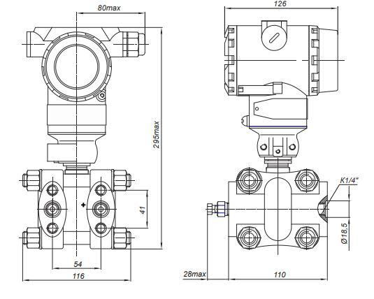 Габаритные размеры датчиков разности давления Корунд-ДД-001МН-И