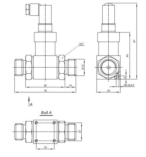 Габаритные размеры датчиков дифференциального давления Корунд-ДДН-001М