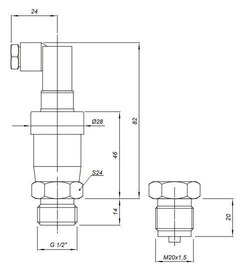 Габаритные размеры датчиков давления Корунд-ДИ-001Э-420,-421
