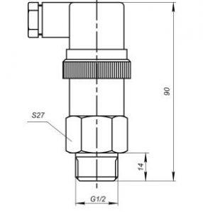 Габаритные размеры датчика давления Корунд-ДИ-001ЭК