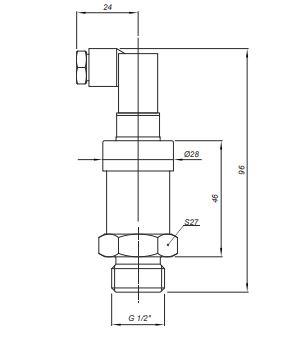 Габаритные размеры датчика давления Корунд-ДИ-001К