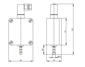 Габаритные и монтажные размеры датчиков Корунд-ДИ-001-М3хх; Корунд-ДА-001-М3хх; Корунд-ДР-001-М3хх; Корунд-ДИВ-001-М3хх (кроме модели 325)