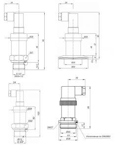 Габаритные размеры датчиков давления с открытой мембраной Корунд-ДИ/ДР/ДИВ-001М-О