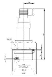 Габаритные размеры датчиков давления Корунд-ДХ-001М(Н,RS)-2ХХ