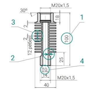 Устройство пассивного охлаждения для датчиков давления УО-100.40