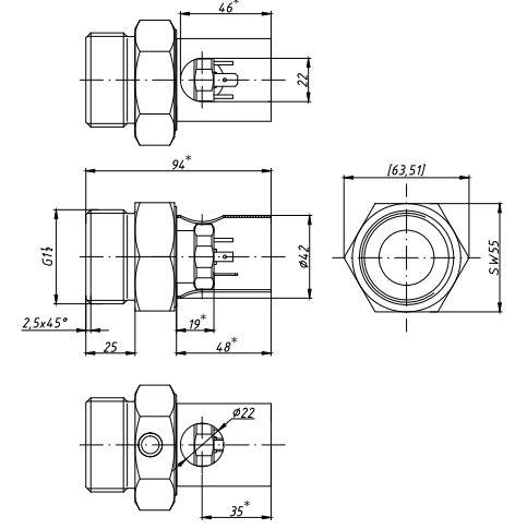 Габаритные размеры-1 датчиков давления APZ-3420v