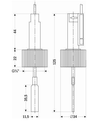 Габаритные размеры реле потока ДР-П-50-20