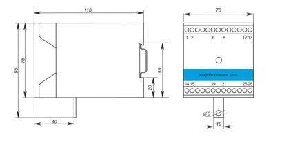 Габаритные размеры барьера искрозащиты Корунд-БПД-24Ех