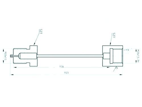 Габаритные размеры отвода-охладителя ОС100/ОК100-М20х1,5-М20х1,5