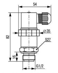 Габаритные размеры датчика давления ПД100И-ДИ/ДВ/ДИВ-121-Exi