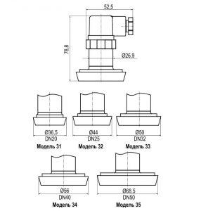 Габаритный чертёж ПД180 с присоединением «молочная гайка» по стандарту DIN 11851