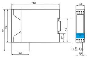 Габаритные размеры барьера искрозащиты Корунд-М730