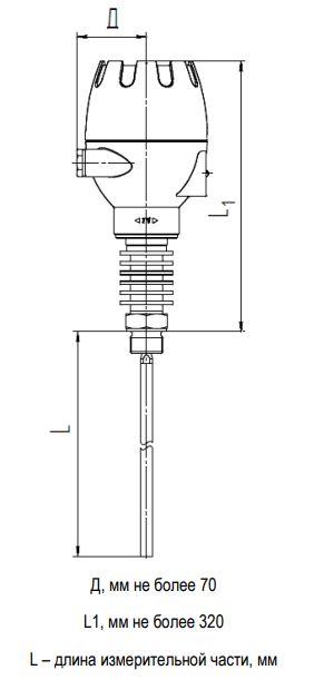 Габаритные размеры уровнемера Левелтач М (температурное исполнение «D», температура измеряемой среды от минус 50 до плюс 200 °С)