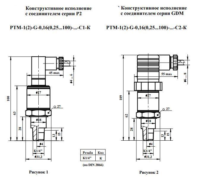 Габаритные размеры датчиков давления РТМ-1,-2