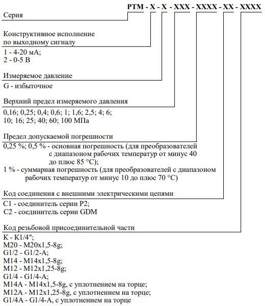 Форма заказа датчиков давления РТМ-1, РТМ-2