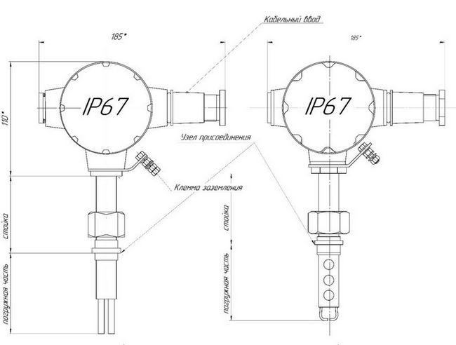 Габаритные размеры датчика СЖУ-1-ОГ