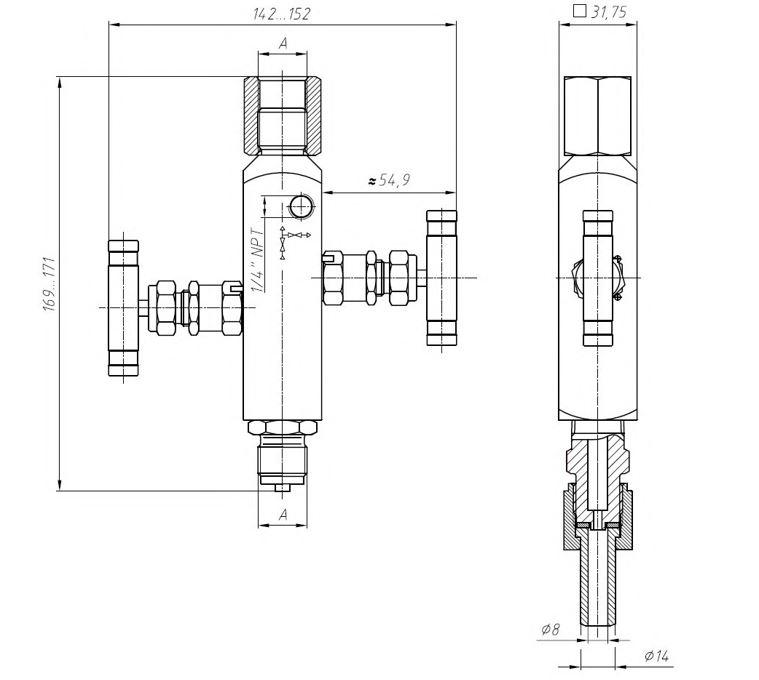Габаритные размеры двухвентильного клапанного блока VZ-20-M