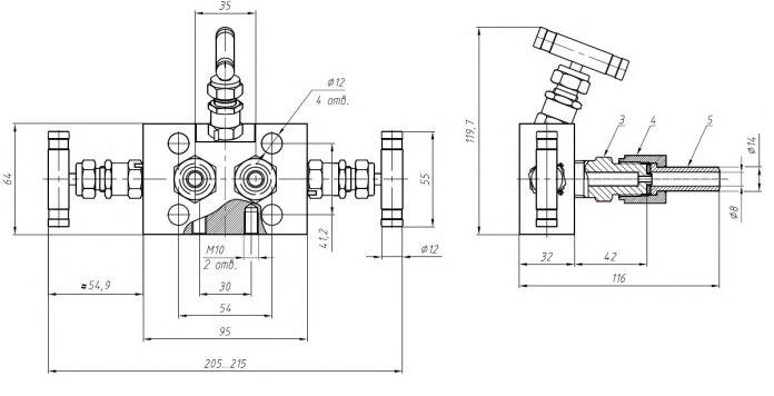 Габаритные размеры-1 клапанного блока VZ-30