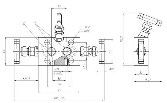 Габаритные размеры клапанных блоков VZ-30