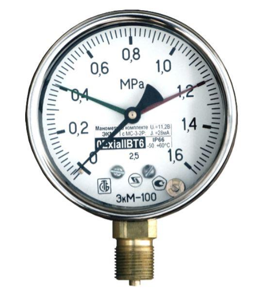 Электроконтактные манометры ДМ, ЭКМ с сигнализатором МС-3-2Р