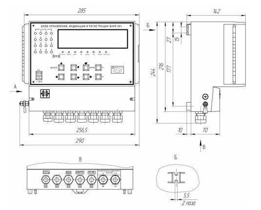 Габаритные размеры блока БУИР-301-16 (измерителя-регулятора-регистратора)