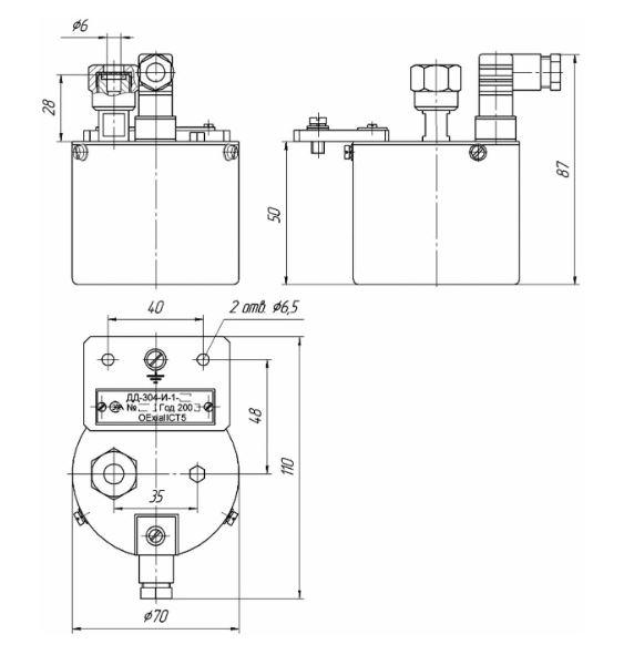Габаритные размеры датчика давления ДД-304-И-1
