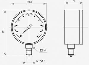 Габаритные размеры напоромеров МТ-2Н