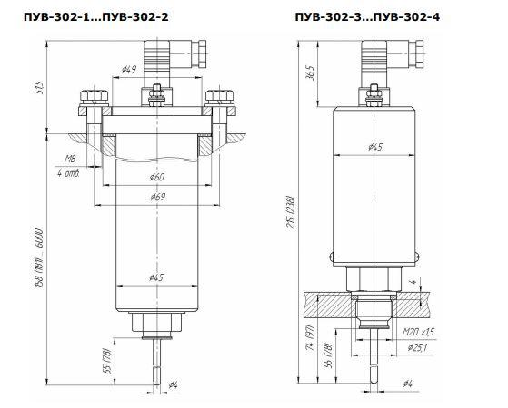 Габаритные размеры преобразователей уровня ПУВ-302