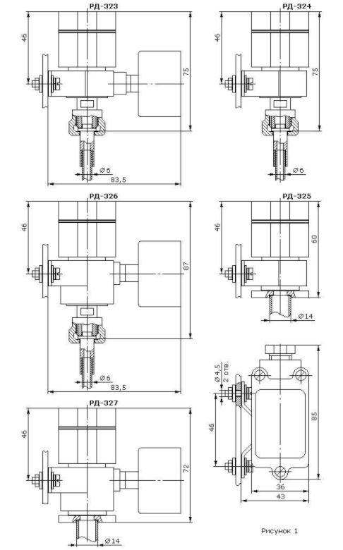 Габаритные размеры реле давления РД-323...327