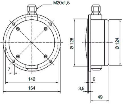 Габаритные размеры мембранных сигнализаторов уровня SOLIBA M
