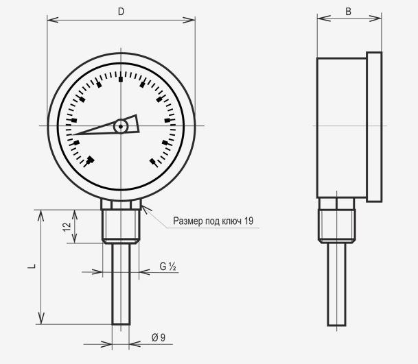 Габаритные размеры термометра ТБУ-100 с радиальным штуцером