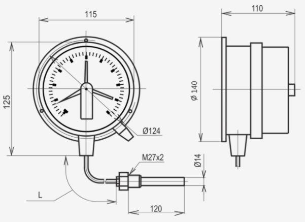 Габаритные размеры термометра ТМП-100С