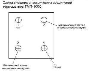 Схема внешних электрических соединений термометра ТМП-100С