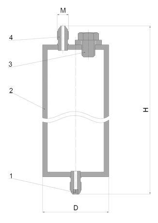 Габаритные размеры водяного затвора ВЗ-1, ВЗ-2