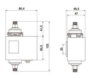 Габаритные размеры реле давления РД55-ДД