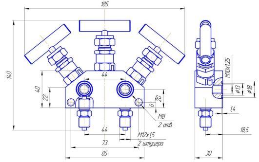 Габаритно-присоединительные размеры трехвентильного блока БВ-3