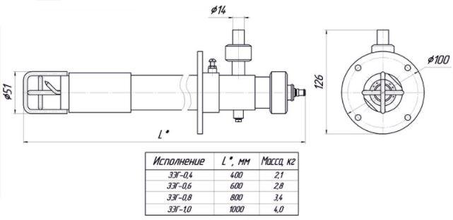 Габаритный чертеж запального устройства ЗУ-1